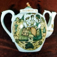 Tea-pot with folklore scene. Over Glasour Painting on Porcelain. H 23 cm