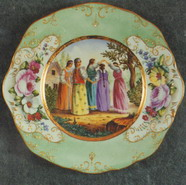 Wall Plate. Young Ladies Playing. Over Glasour Painting on Porcelain. D 27 cm