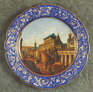 Wall Plate Kremlin Square. Over Glasour Painting on Porcelain. D 31 cm